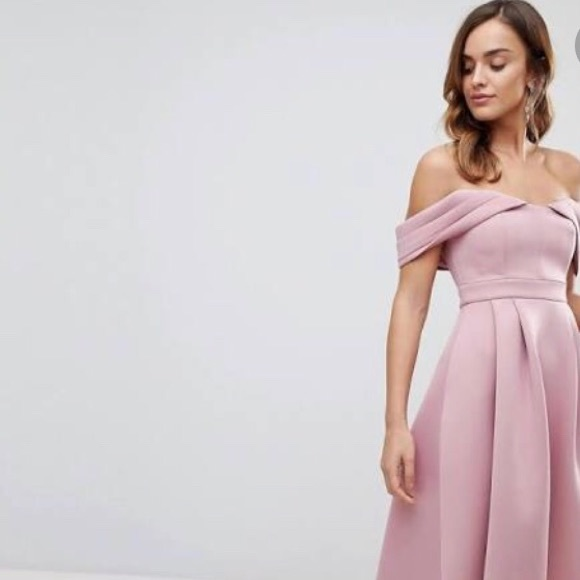 fd07ebb1e5 ASOS Bardot Cold Shoulder Dip Back Midi Prom Dress